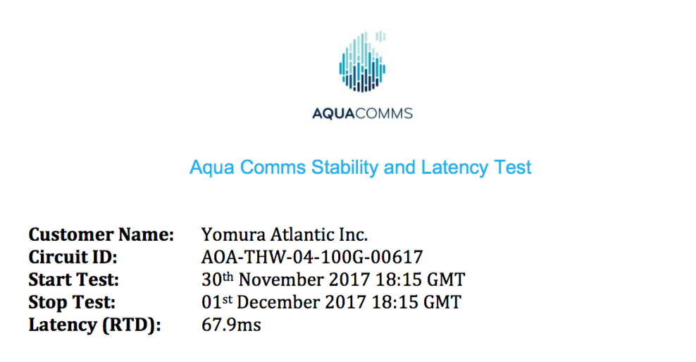 Yomura Atlantic Latency